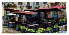 Outdoor French Cafe In Old Quebec City Bath Towel