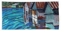 Outlet Row Of Boat Houses Hand Towel