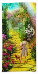 Bath Towel featuring the painting Over The Rainbow by Mo T