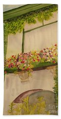 Bath Towel featuring the painting Overlooking Butchard Gardens  by Vicki  Housel