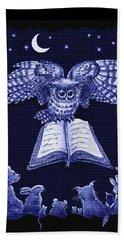 Owl And Friends Indigo Blue Hand Towel