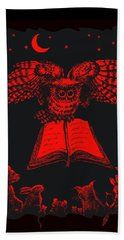 Owl And Friends Redblack Hand Towel