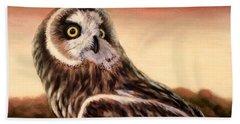 Owl At Sunset Bath Towel