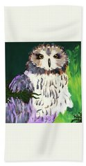 Owl Behind A Tree Hand Towel