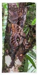 Owl Butterfly On A Tree Bath Towel