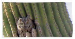 Owl In Cactus Burrow Bath Towel