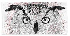 Owl Sketch Pen Portrait Hand Towel