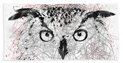 Owl Sketch Pen Portrait Bath Towel