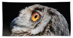 Bath Towel featuring the photograph Owl The Grand-duc by Mary-Lee Sanders