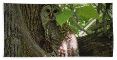 Owl With Leaf Bath Towel