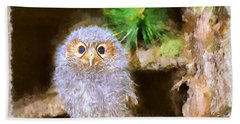 Hand Towel featuring the digital art Owlet-baby Owl by Maciek Froncisz