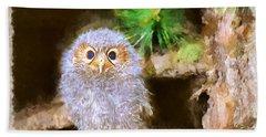 Bath Towel featuring the digital art Owlet-baby Owl by Maciek Froncisz