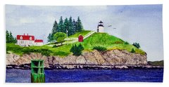 Owls Head Lighthouse Bath Towel by Mike Robles