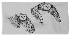 Owls In Flight Hand Towel by Victoria Lakes