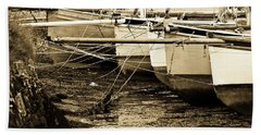 Oyster Boats Laid Up At Mylor Bath Towel by Brian Roscorla