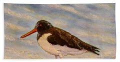 Hand Towel featuring the painting Oyster Catcher by Joe Bergholm