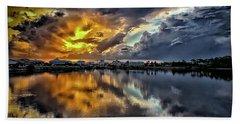 Oyster Lake Sunset Hand Towel by Walt Foegelle
