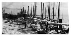 Oyster Luggers, New Orleans Ca 1910 Bath Towel