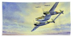 Hand Towel featuring the painting P-38 Lightning Aircraft by Bill Holkham