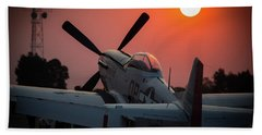 Bath Towel featuring the photograph P51 Sunset by Paul Job