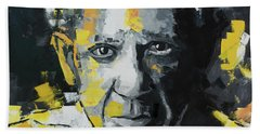 Bath Towel featuring the painting Pablo Picasso Portrait by Richard Day