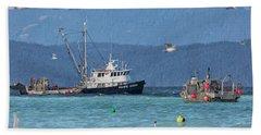 Pacific Ocean Herring Hand Towel by Randy Hall