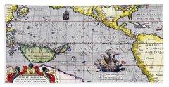 Pacific Ocean Vintage Map Bath Towel