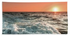 Pacific Sunset With Boat Wash Bath Towel by Jeremy Farnsworth