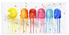Pacman Watercolor Rainbow Hand Towel