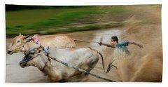 Hand Towel featuring the photograph Pacu Jawi Bull Race Festival by Pradeep Raja Prints