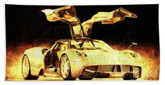 Pagani Huayra Golden Prin For Man Cave Bath Towel
