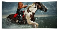 Paint Horse Running In The Water Bath Towel