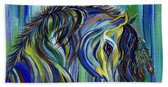 Bath Towel featuring the painting Paint Native American Horse by Janice Rae Pariza