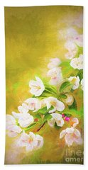 Painted Crabapple Blossoms In The Golden Evening Light Bath Towel
