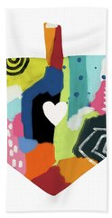 Bath Towel featuring the mixed media Painted Dreidel With Heart- Art By Linda Woods by Linda Woods