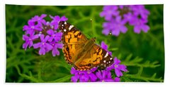 Painted Lady On Purple Verbena Hand Towel
