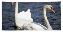 Painted Mute Swans Of Lake Junaluska North Carolina II Hand Towel