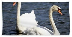 Painted Mute Swans Of Lake Junaluska North Carolina II Bath Towel