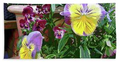 Hand Towel featuring the photograph Painted Pansies by Linda Bianic