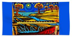Painted Piano Hand Towel by Christy Ricafrente