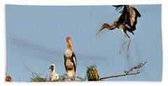 Painted Stork  Bath Towel by Manjot Singh Sachdeva
