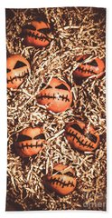 painted tangerines for Halloween Bath Towel