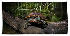 Painted Turtle Sunning Itself On A Log Hand Towel