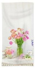 Painterly Ranunculus Tea Time Bath Towel