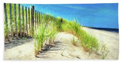 Bath Towel featuring the photograph Painterly  Waterfront Dune Grass by Gary Slawsky