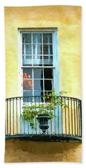 Painterly Window And Balcony Hand Towel by Gary Slawsky