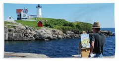 Painting Nubble Lighthouse Hand Towel
