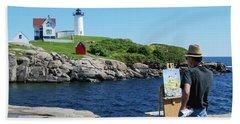 Painting Nubble Lighthouse Bath Towel
