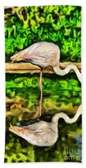 Painting Of Greater Flamingo Bath Towel