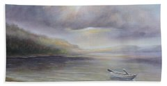 Beach By Sruce Run Lake In New Jersey At Sunrise With A Boat Hand Towel